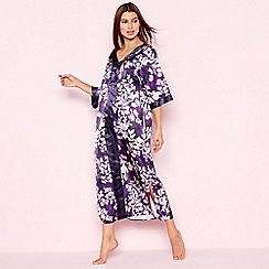 The Collection - Purple floral print 'Mystry' satin kaftan
