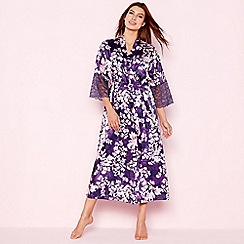 The Collection - Purple floral print 'Mystry' satin kimono dressing gown