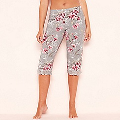 Gorgeous DD+ - Grey floral print 'Frosted' cropped pyjama bottoms