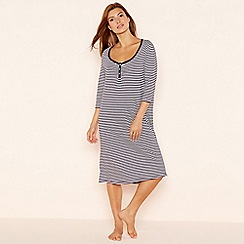 Lounge & Sleep - Navy stripe long sleeve night dress