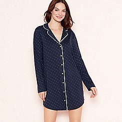 Lounge & Sleep - Navy spot print cotton 'Essential' nightshirt