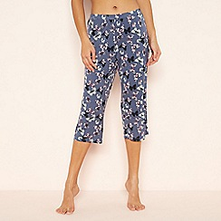 Lounge & Sleep - Blue butterfly print cropped pyjama bottoms