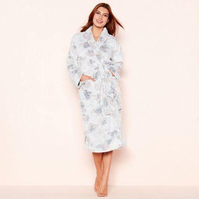 cf3decb8ad Lounge   Sleep Light grey butterfly print fleece dressing gown ...