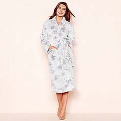 Lounge & Sleep - Light grey butterfly print fleece dressing gown