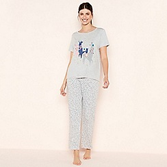 Lounge & Sleep - Grey Llama Print Cotton Pyjama Set