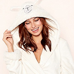Lounge & Sleep - Cream 'llama' fleece hooded dressing gown