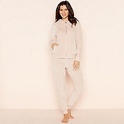 Lounge & Sleep - Pale pink velour zip through loungewear set