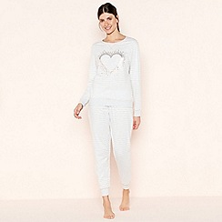 Lounge & Sleep - Grey Heart Print Striped Pyjama Set