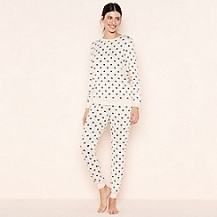 Lounge & Sleep - Pale Pink Heart Print Knitted Pyjama Set