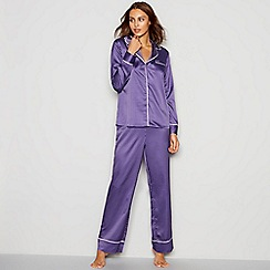 J by Jasper Conran - Purple satin geometric print revere pyjama set