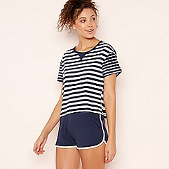 Lounge & Sleep - Navy Striped 'Bonne Nuit' Pyjama Set