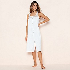 Lounge & Sleep - White Cotton Crochet Trim Nightdress
