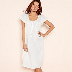 Lounge & Sleep - White Embroidered Dobby Cotton Nightdress