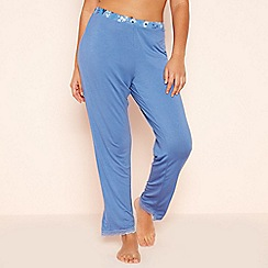 Gorgeous DD+ - Blue Floral Trim Pyjama Bottoms