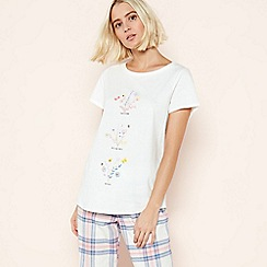 Lounge & Sleep - Cream Floral Placement 'Flora' Cotton Pyjama Top