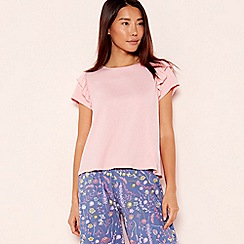 Lounge & Sleep - Light Pink Frill Trim Pyjama Top