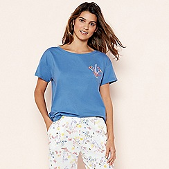 Lounge & Sleep - Blue Floral Embroidered Sleeptee