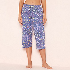 Lounge & Sleep - Blue Floral Print Cropped Pyjama Trousers