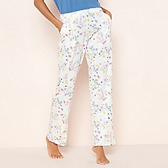 Lounge & Sleep - Cream Floral Butterfly Print Pyjama Bottoms