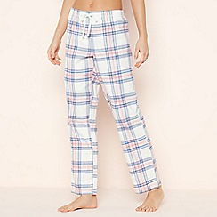 Lounge & Sleep - Pale Pink Check 'Flora' Cotton Pyjama Bottoms