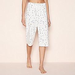 Lounge & Sleep - Cream Bee Print Cotton Cropped Pyjama Bottoms