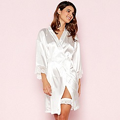 The Collection - Ivory Floral Lace Short Wrap Satin Dressing Gown and Garter