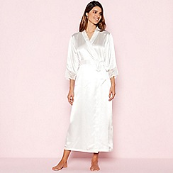 The Collection - Ivory Floral Lace Satin Dressing Gown