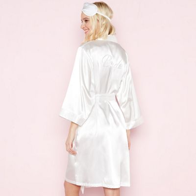 578635fa74 The Collection - White  Bride  Dressing Gown and Eye Mask