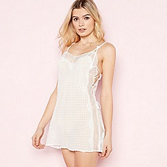 The Collection - White Spot Mesh Lace Up Chemise