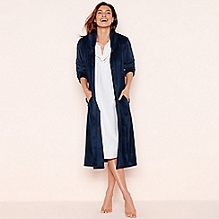 Lounge & Sleep - Blue Button Through Fleece Dressing Gown