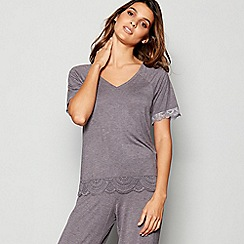 J by Jasper Conran - Grey Lace Trim 'Frost' Pyjama Top