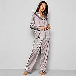 J by Jasper Conran - Grey Geometric Print 'Frost' Satin Pyjama Set