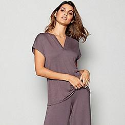J by Jasper Conran - Grey Ribbed Trim Pyjama Top