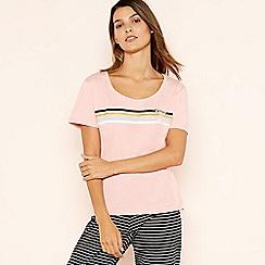 Lounge & Sleep - Pale Pink Striped 'Rainbow' Cotton Pyjama Top