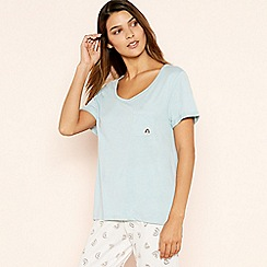 Lounge & Sleep - Blue 'Rainbow' Patch Pocket Cotton Rich Sleeptee