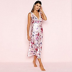The Collection - Pink Floral Print Lace Trim Satin Nightdress