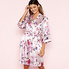 The Collection - Pink Floral Print Short Wrap Dressing Gown