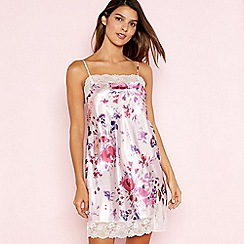 The Collection - Pink Floral Print Lace Trim Square Neck Satin Chemise