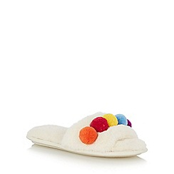 Lounge & Sleep - Cream faux fur pom pom mule slippers