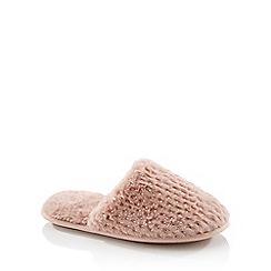 Lounge & Sleep - Pink Foil Dash Faux Fur Mule Slippers