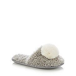 Lounge & Sleep - Grey Faux Fur Pom Pom Mule Slippers