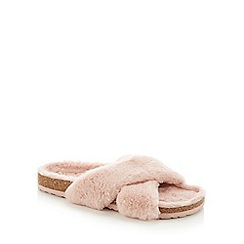 Lounge & Sleep - Pale Pink Faux Fur Cross Strap Slider Slippers