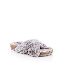 Lounge & Sleep - Grey faux-fur cross strap slider slippers