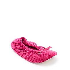 Lounge & Sleep - Dark Pink Waffle Fleece Ballerina Slippers