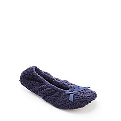 Lounge & Sleep - Navy Waffle Fleece Ballerina Slippers
