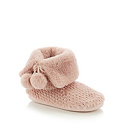 Lounge & Sleep - Pink Foil Dash Faux Fur Boot Slippers