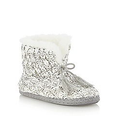 Lounge & Sleep - Grey metallic stripe knit slipper boots