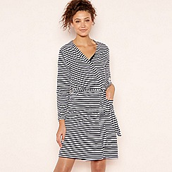 Lounge & Sleep - Navy Striped Cotton Dressing Gown