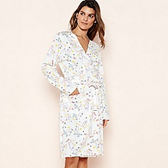 Lounge & Sleep - Cream Floral Butterfly Print Cotton Dressing Gown