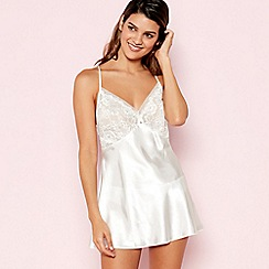 The Collection - White Floral Lace Babydoll and Knickers Set